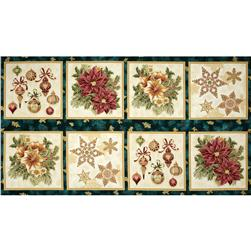Holiday Flourish Metallic Large Blocks Panel Pine Green