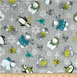 Debbie Mumm Arctic Antics Flannel Animal Toss Gray