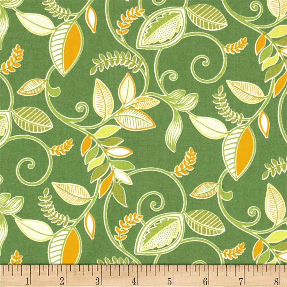 Gramercy Medium Floral Leaf Green