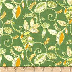 Gramercy Medium Floral Leaf Green Fabric