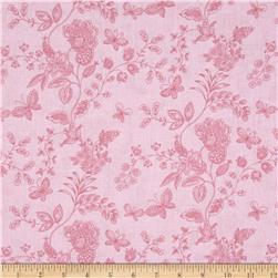 "108"" Wide Quilt Back Floral Butterfly Pink"
