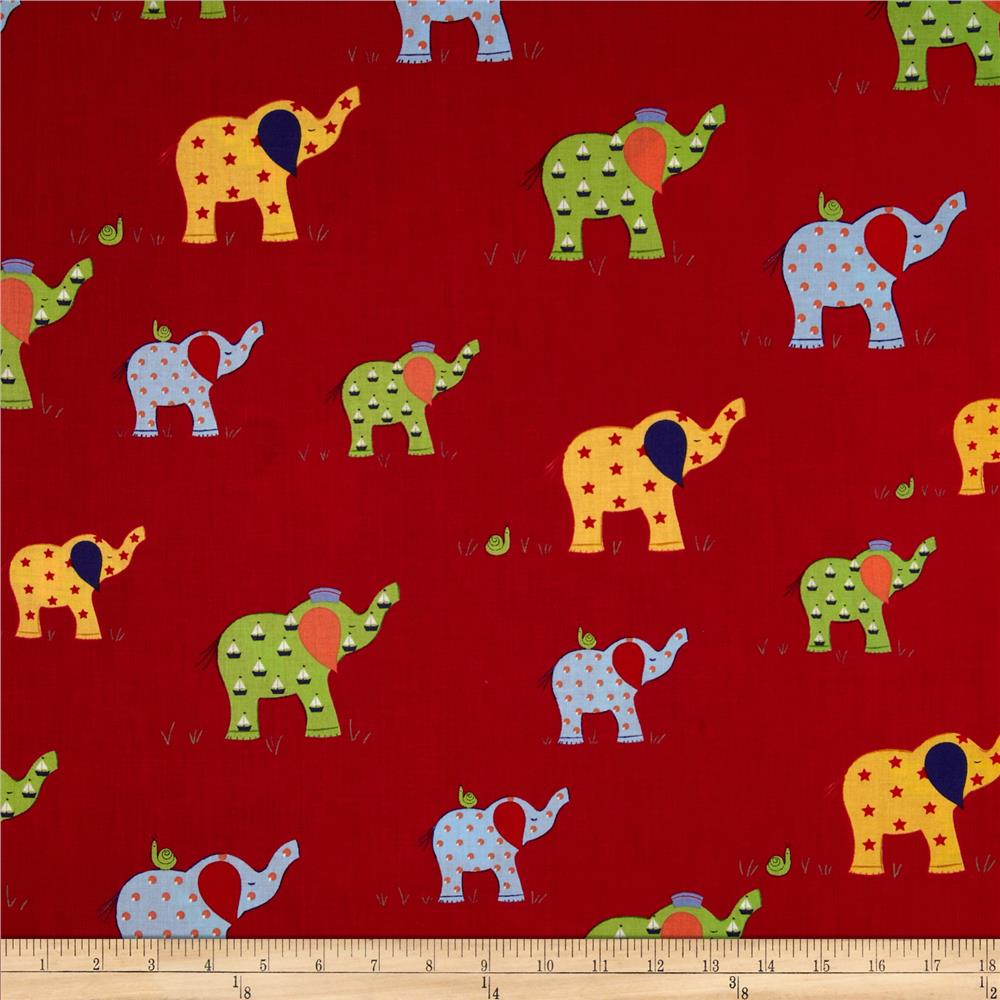 Moda Celebration Elephants Red