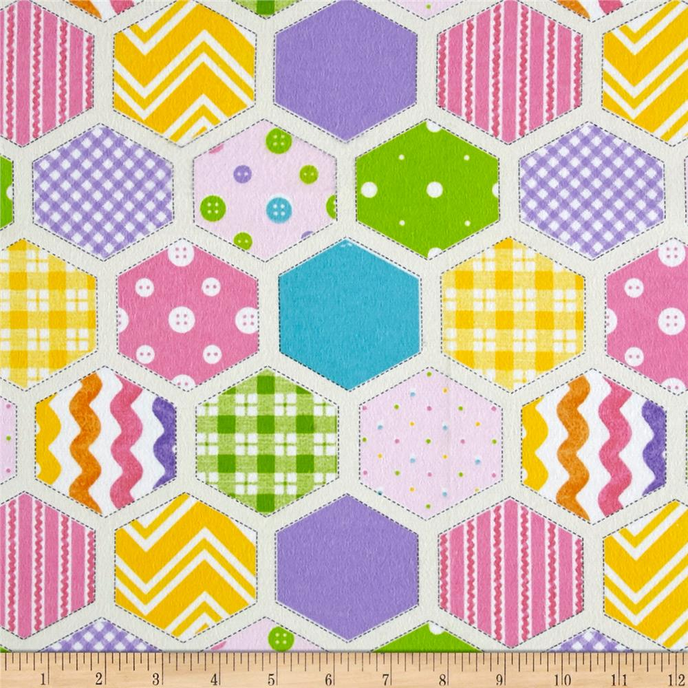Ric Rac Paddywack Flannel Hexi Patchwork Pink