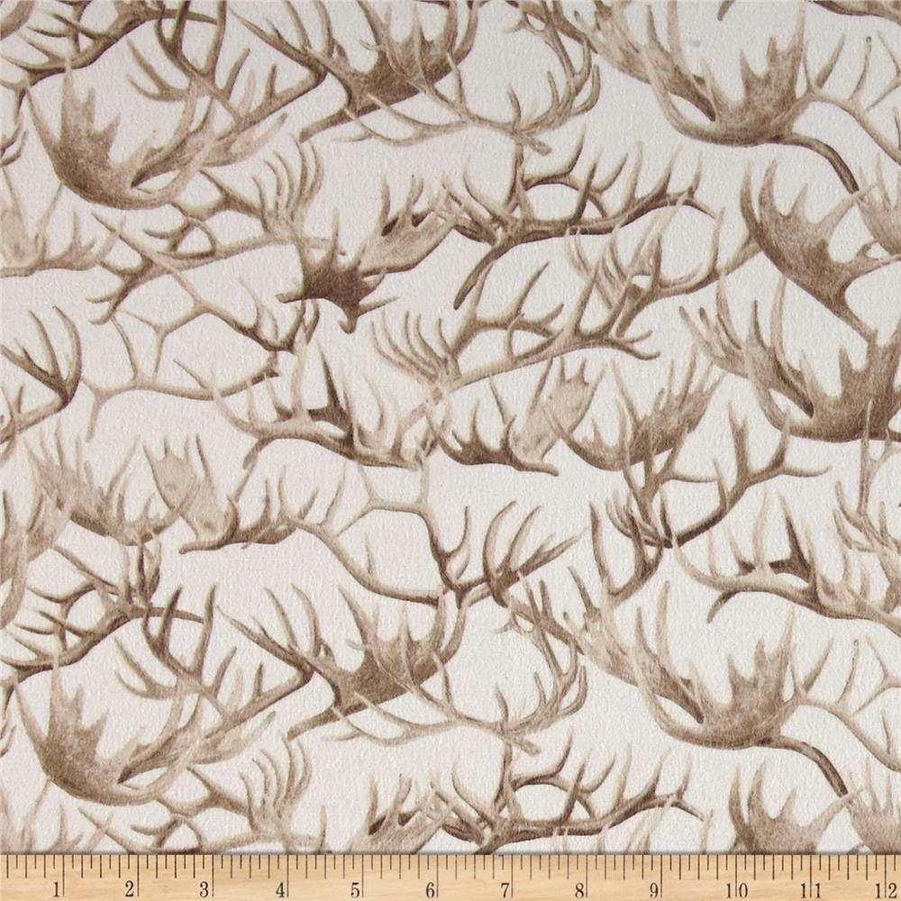 Timeless Treasures Cabin Flannel Antlers Cream