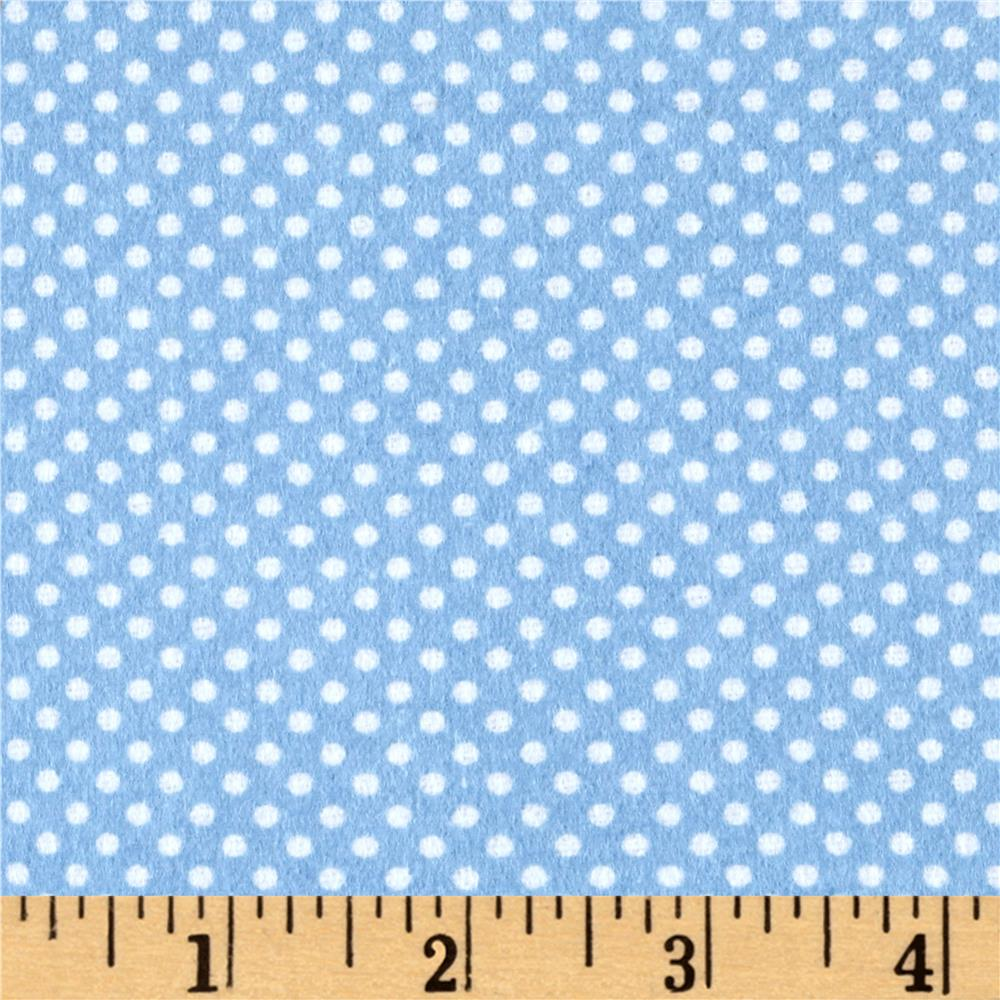Flannel Dots Blue Fabric