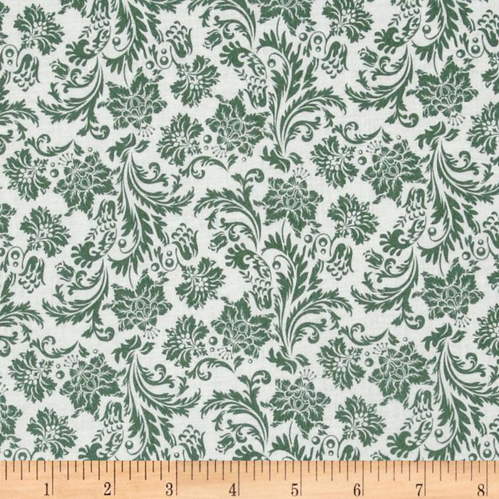 Love Notes Damask White/Teal