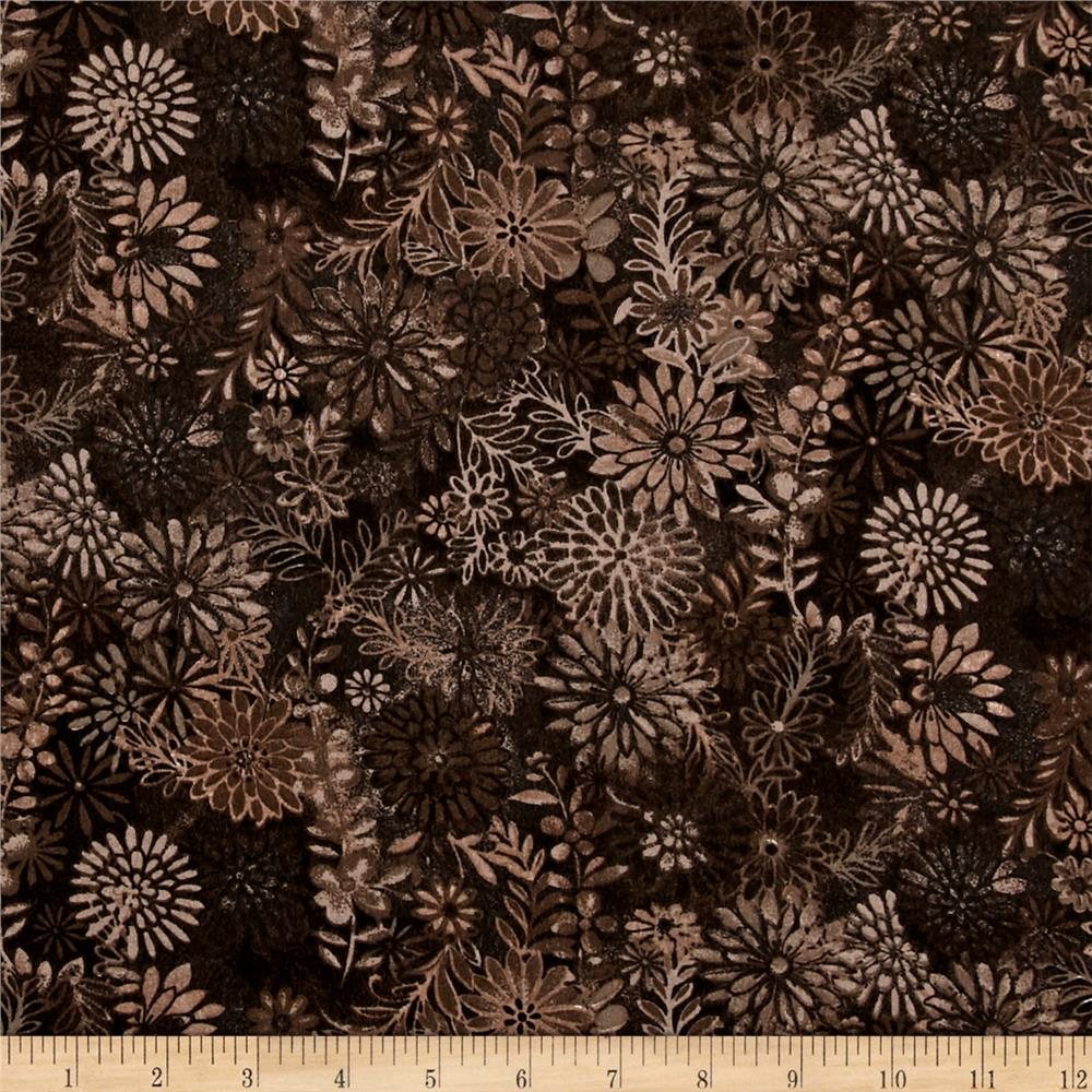 "108"" Wide Quilt Back Packed Floral Brown"