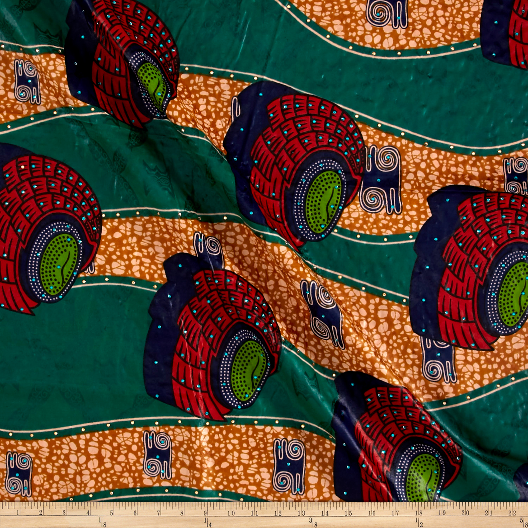 Supreme Basin African Print Broadcloth 6 Yard With Rhinestones Green/red