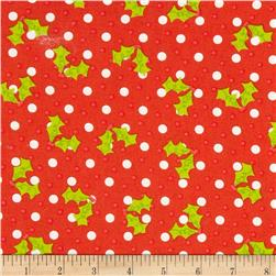 Christmas Tossed Holly Red Fabric