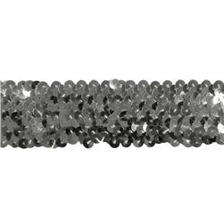"1 1/2"" Stretch Metallic Sequin Trim Silver"