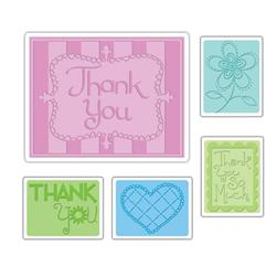 Sizzix Textured Impressions Embossing Folders 5 Pack-Thank You Set #3