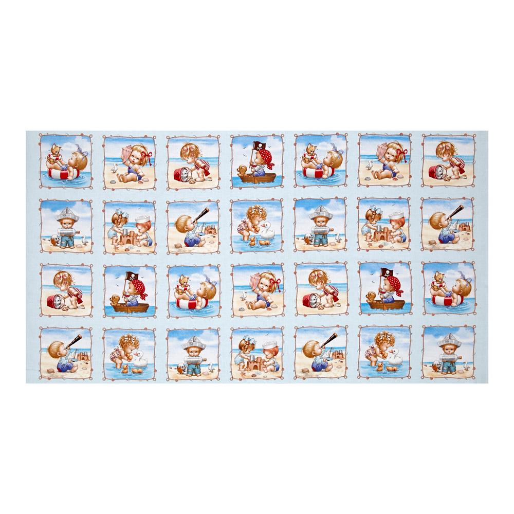 Beach Kids 33.5 In. Panel Blue Fabric By The Yard