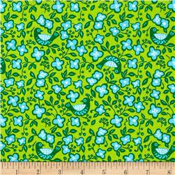 Sundborn Garden Small Floral/Birds Green Fabric