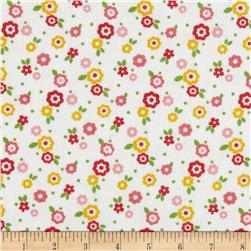 Alpine Flannel Snail Floral White Fabric