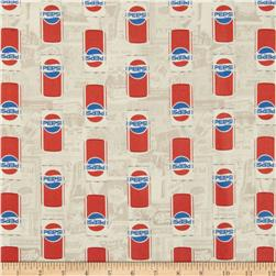 Pepsi Cans White Fabric