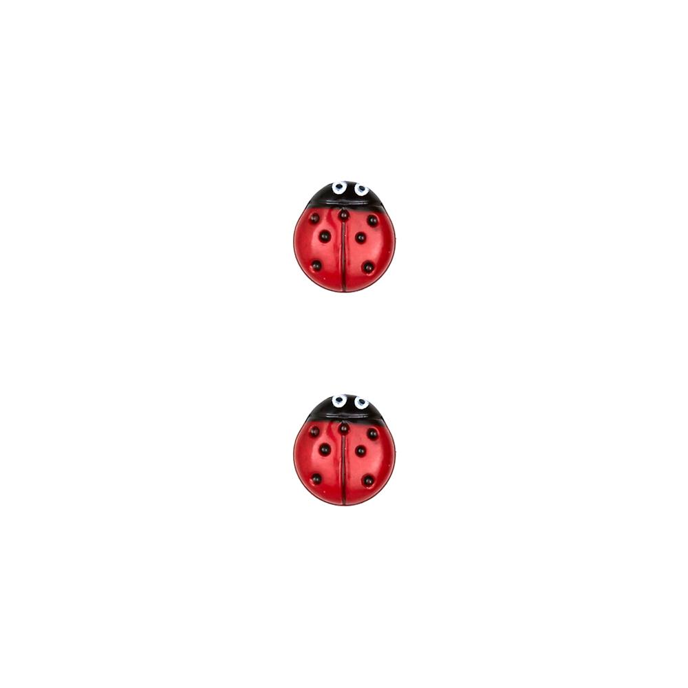 Dill Novelty Button 7/16'' Ladybug Red