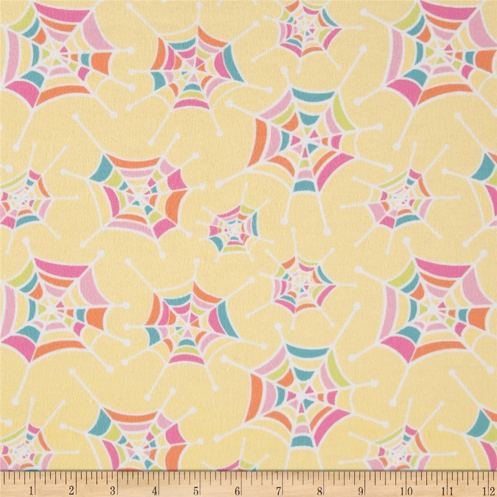 Riley Blake Flannel Snug as a Bug Spider Webs Yellow