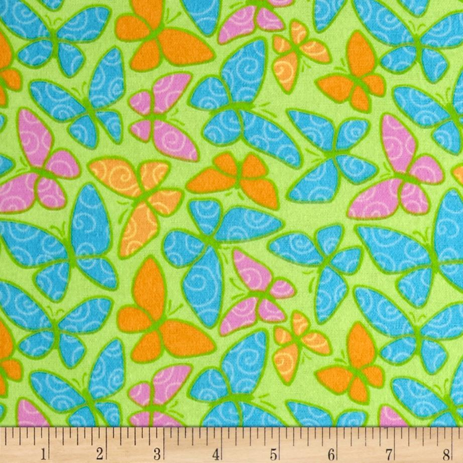 Lollipop Flannel Butterflies Pistachio