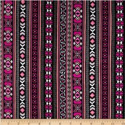 Stretch Rayon Jersey Knit Aztec Print Black/Hot Pink