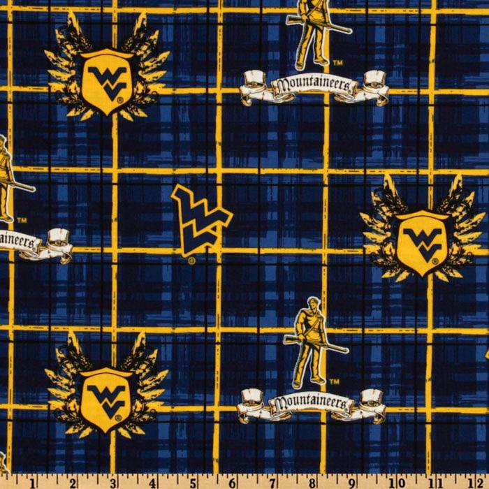 Collegiate Cotton Broadcloth University of West Virginia Plaid Blue