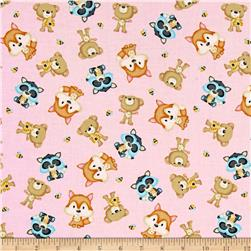 Woodland Cuties Tossed Woodland Animals Pink