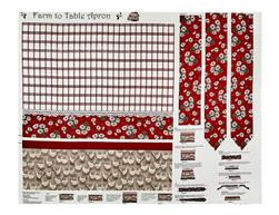 "Farm To Table Apron 36"" Panel Red"
