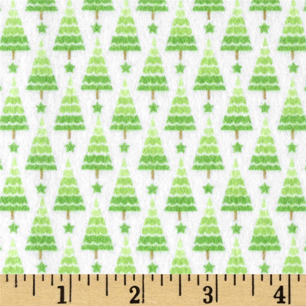 Riley Blake Home for the Holiday's Flannel Tree Green