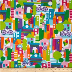 Michael Miller Happy Town Collage White Fabric
