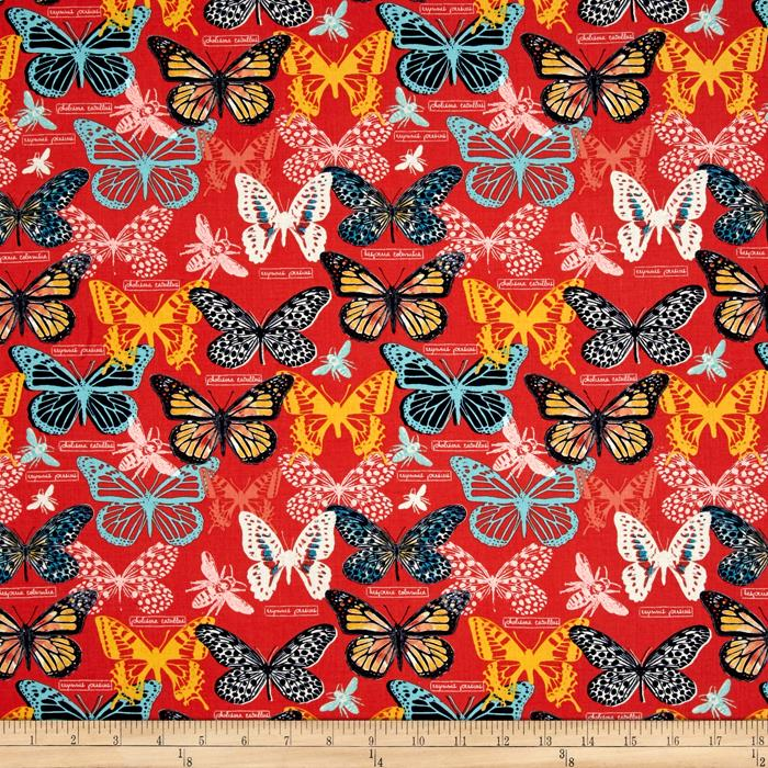 Timeless Treasures Toccata Butterflies Red