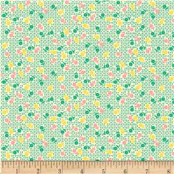 Aunt Grace Simpler Sampler Multi Small Flower on Green