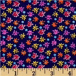 Cotton Lycra Spandex Jersey Knit Floral Purple