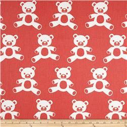 Premier Prints Teddy Twill Coral/White