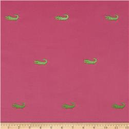 Embroidered 21 Wale Corduroy Alligator Hot Pink/Green