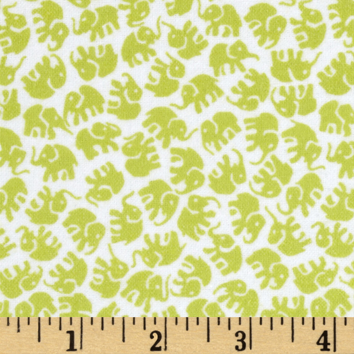 Michael Miller Little Elephants Flannel Limeade