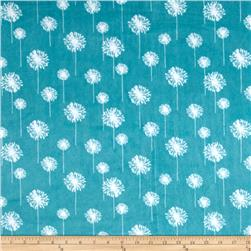 Premier Prints Dandelion Minky Cuddle Teal/Snow