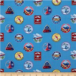 Flying High Badges Blue Fabric