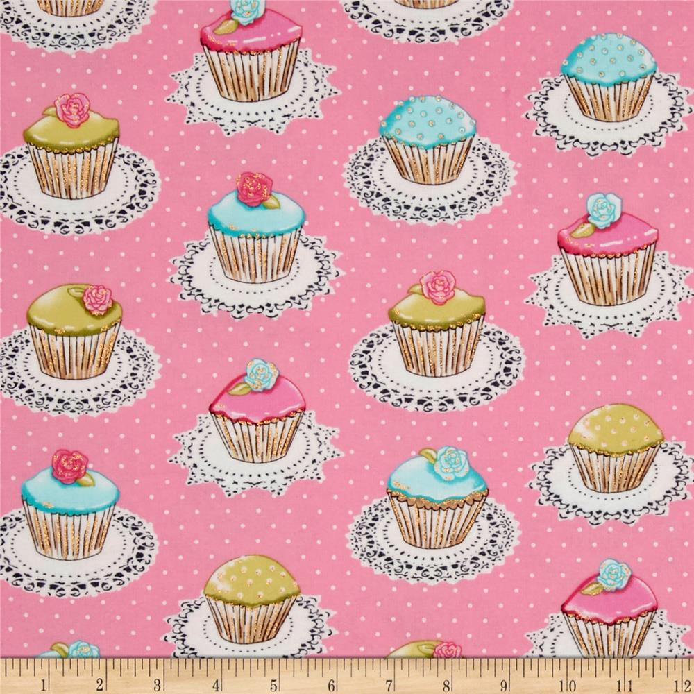 Michael Miller Flannel Quaint Cupcakes Metallic Pink Fabric By The Yard