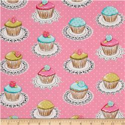 Michael Miller Flannel Quaint Cupcakes Metallic Pink