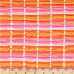 Novelty Stretch Knit Stripes Pink/Orange
