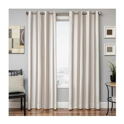 "Sunbrella 96"" Grommet Stripe Outdoor Panel Antique Beige"