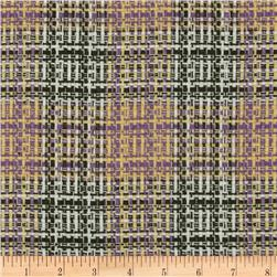 Wool Blend Coating Chunky Plaid Olive/Yellow