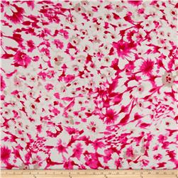 Italian Designer Viscose Silk Crepe de Chine Abstract Floral Pink/White
