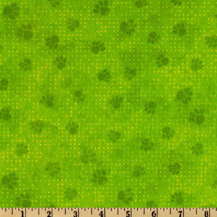 Playful Pets Flannel Tonal Paws Green
