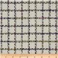 Wool Blend Coating Square Plaid Ivory/Black