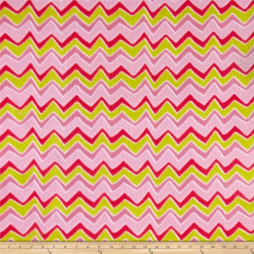 Zebra and Giraffe Stylized Chevron Fleece Green/Pink Fabric By The Yard