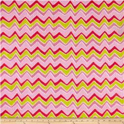 Zebra and Giraffe Stylized Chevron Fleece Green/Pink