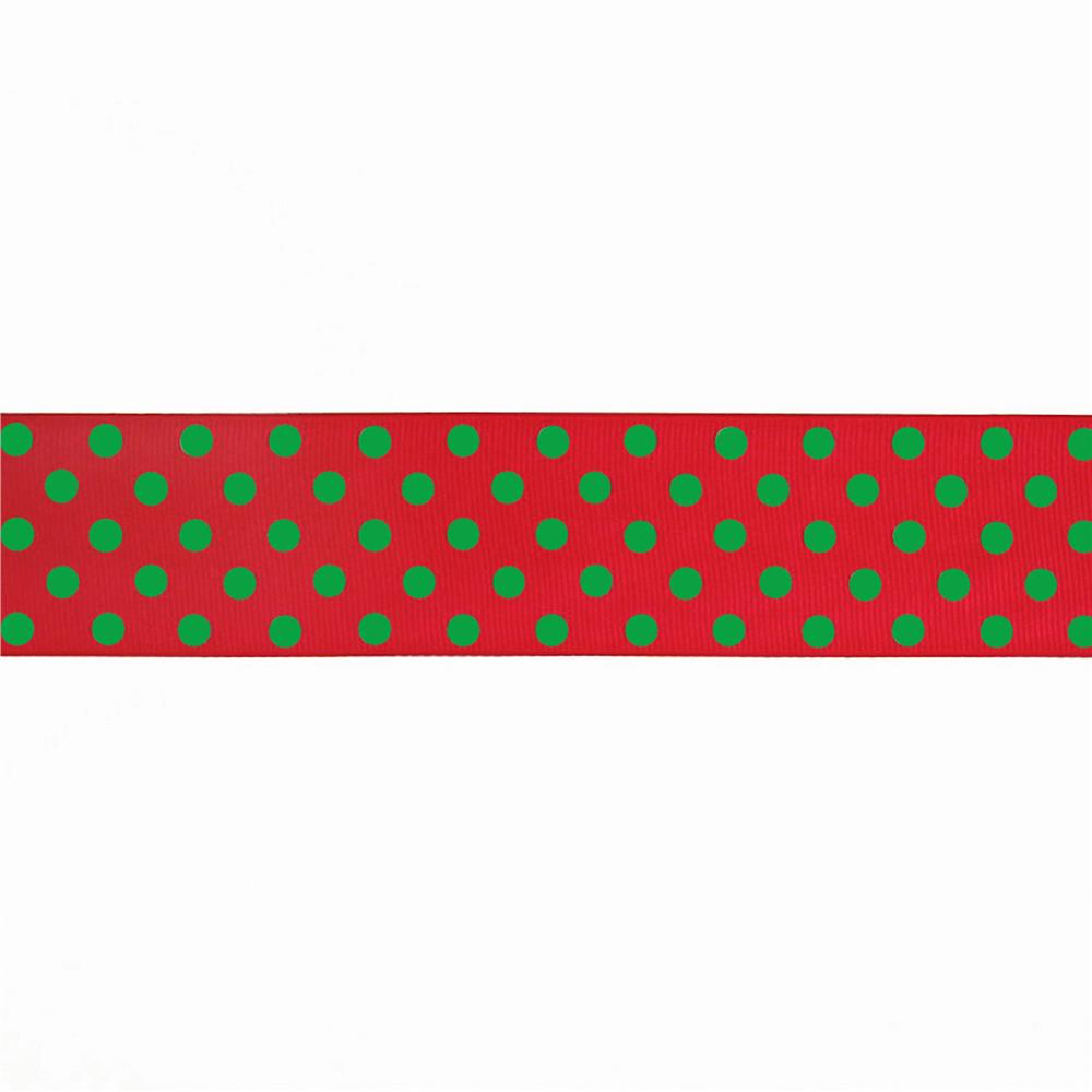 "May Arts 1 1/2"" Grosgrain Dots Ribbon Spool Red/Green"