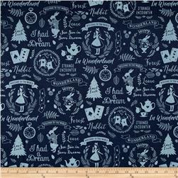 Kokka Trefle Wonderland I Had A Dream Alice Allover Canvas Navy