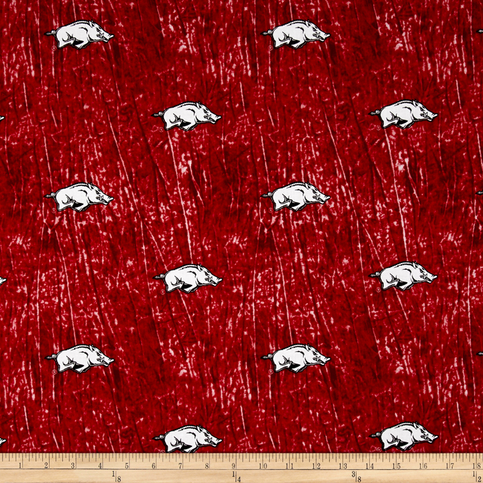 Collegiate Cotton Broadcloth University of Arkansas Tie Dye Print Red Fabric by Sykel in USA