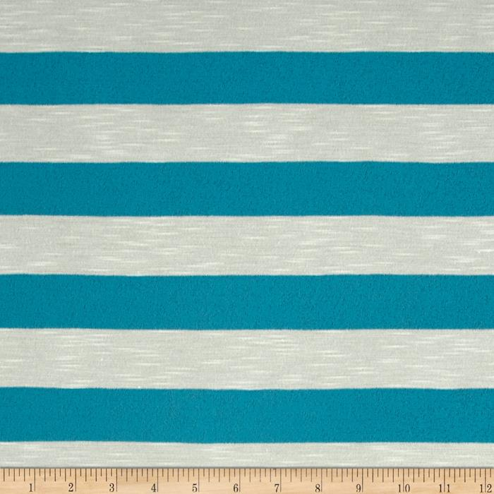 Jersey Knit Stripe White/Aqua